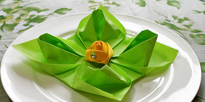 Servietten falten Lotusblüte Video