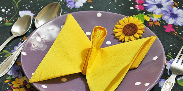 Servietten falten Schmetterling Anleitung Video
